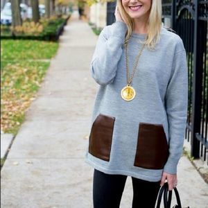 J. Crew Gray Faux Leather Pocket Sweater